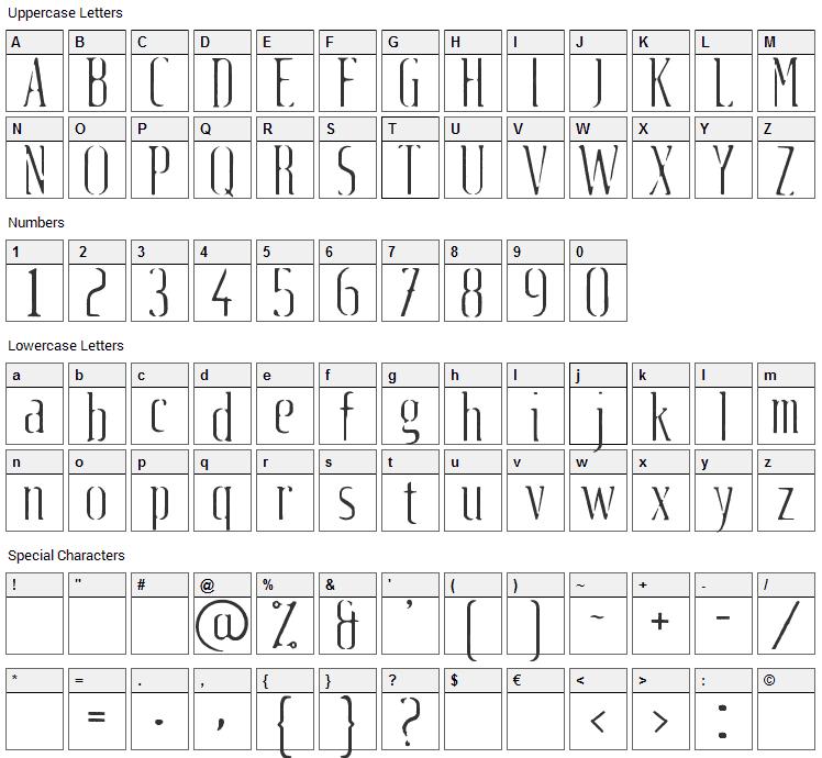 Fluid light Font Character Map