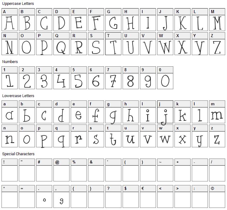 Flut Saus Font Character Map