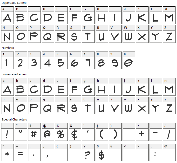 Flux Architect Font Character Map