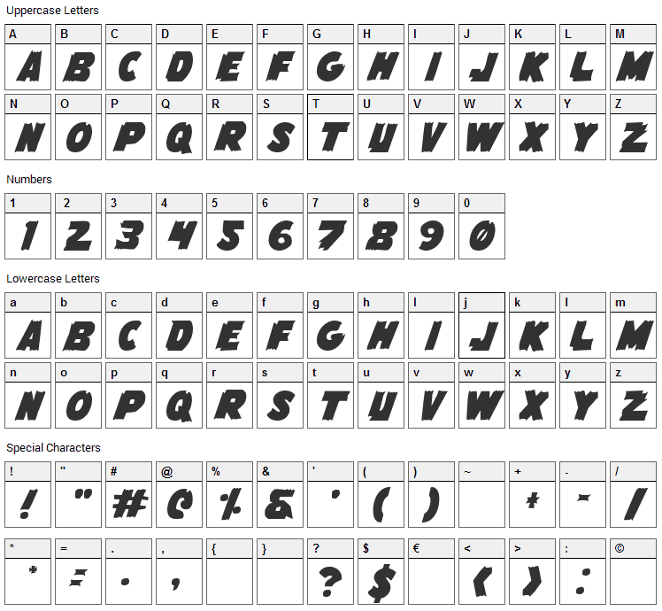 Flying Leatherneck Font Character Map