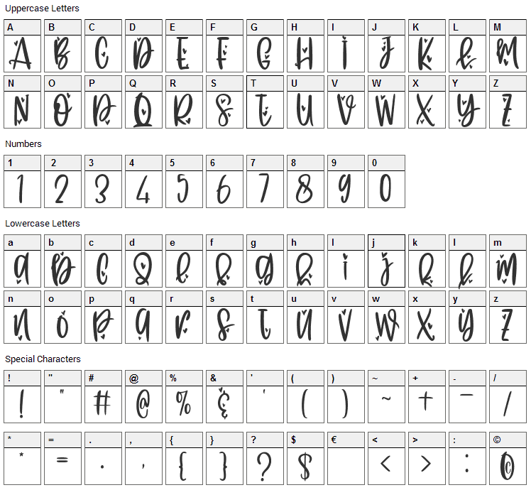 Flying Love Font Character Map