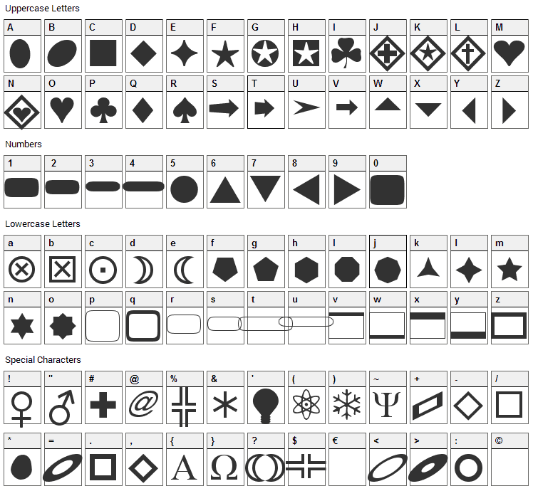 FnT Basic Shapes 1 Font Character Map
