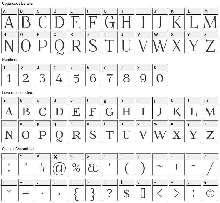 Foglihten Font Character Map