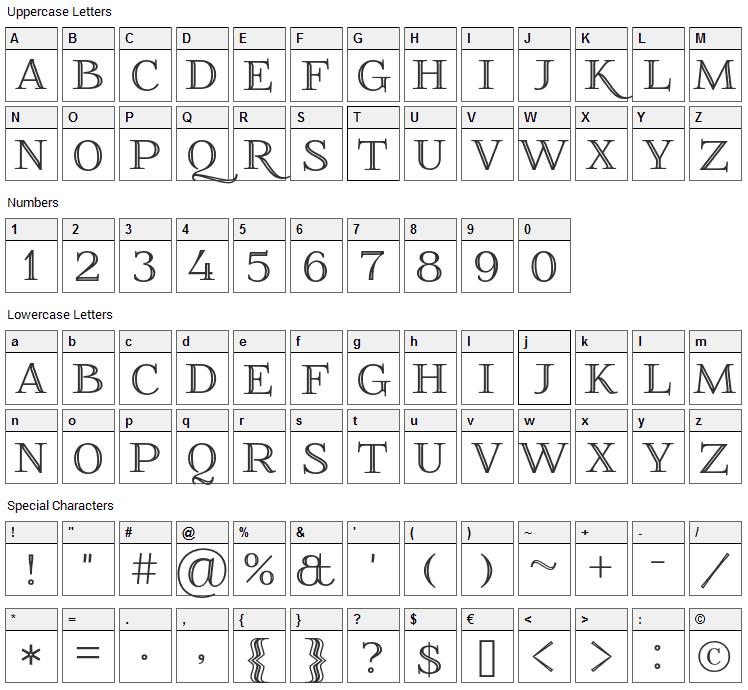 Foglihten No 01 Font Character Map