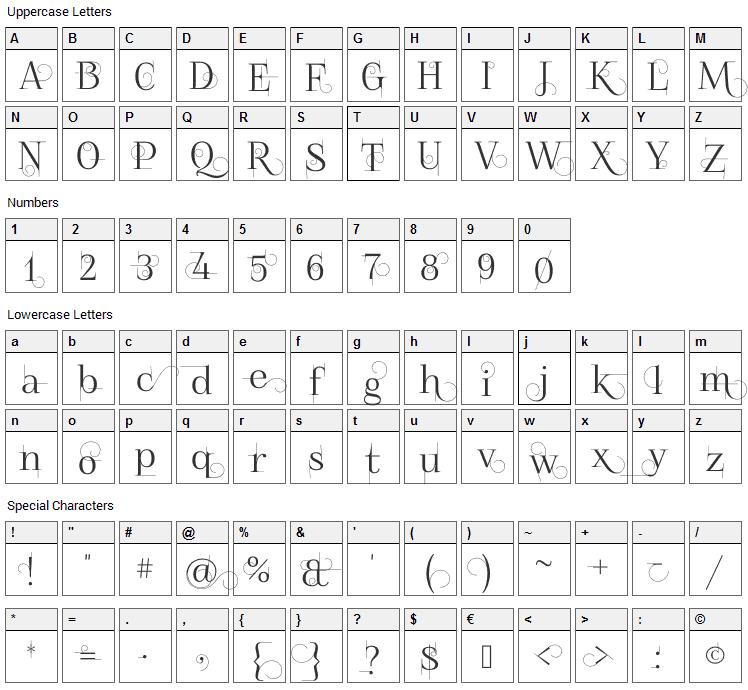 Foglihten No 04 Font Character Map