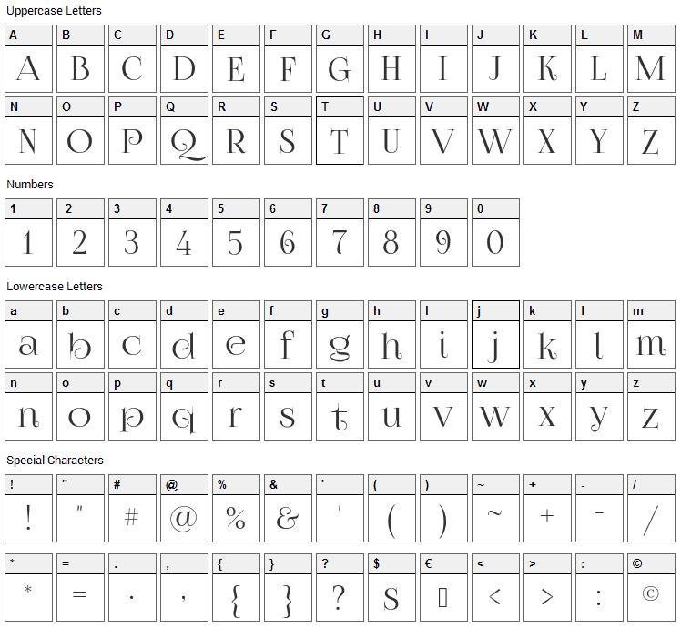 Foglihten No07 Font Character Map
