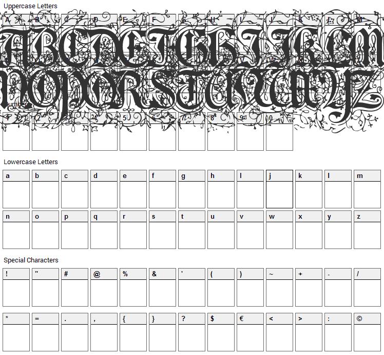 Foliar Initials Font Character Map
