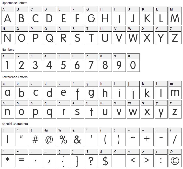 Folks Font Character Map