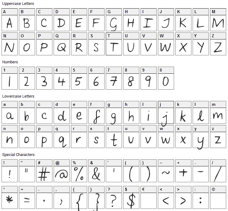 Follow You Into the World Font Character Map