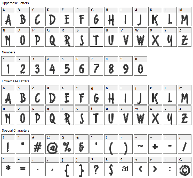 Fondian Outline Font Character Map