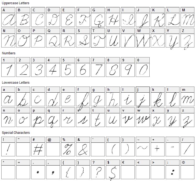 Fondue Font Character Map