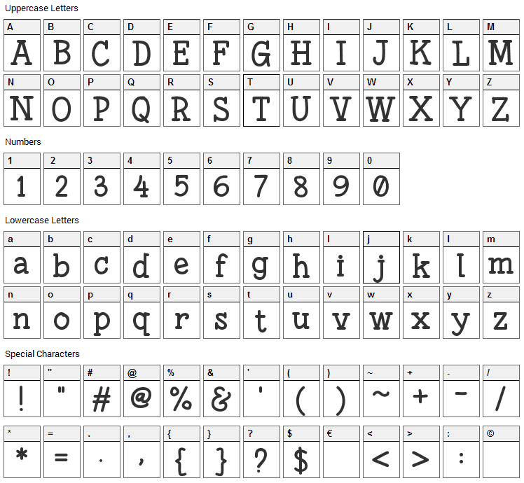 Fonesia Font Character Map