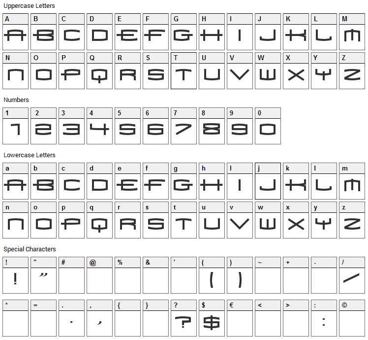 Font 1979 Font Character Map