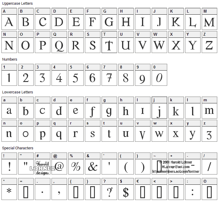 Font Error Font Character Map