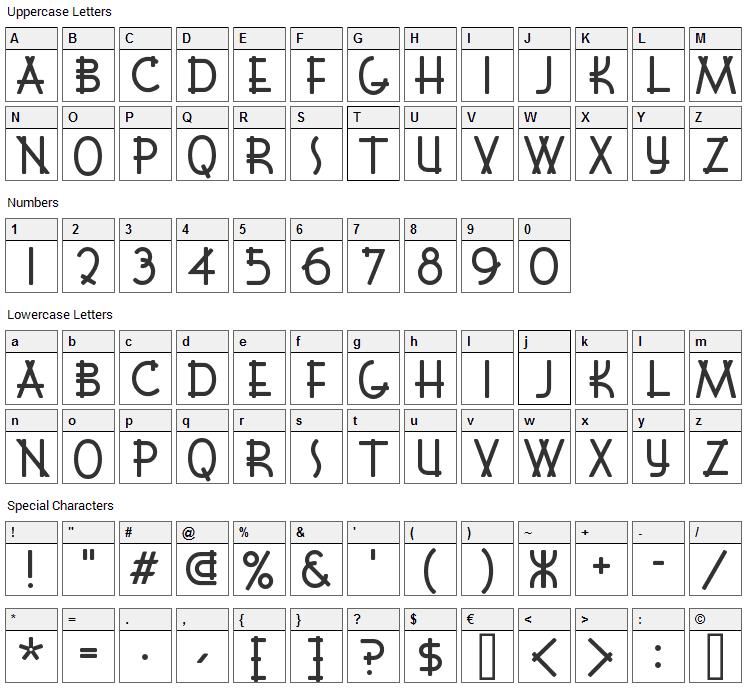Font Shui Font Character Map