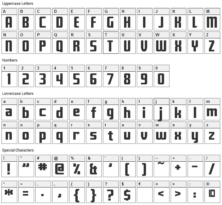 Fontana Font Character Map