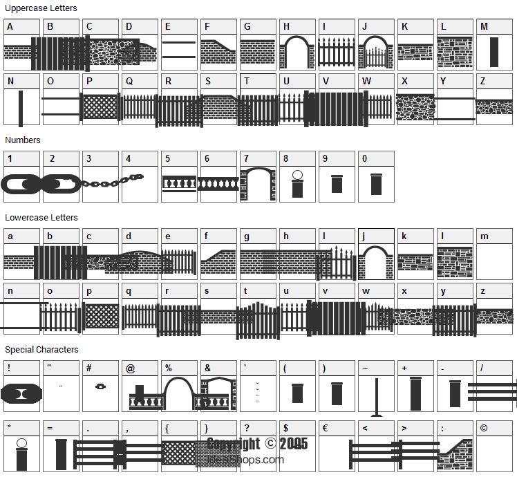 FontCo Fences Font Character Map
