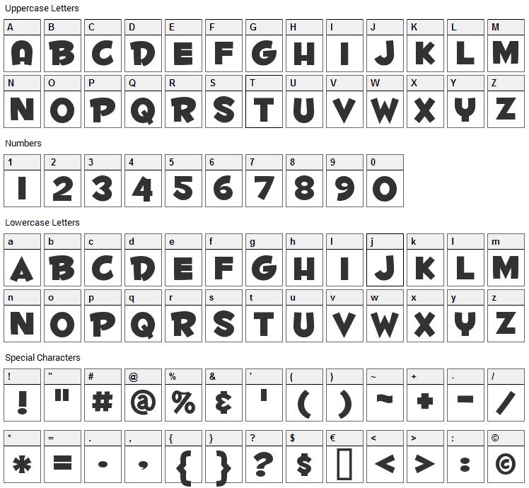Fontdinerdotcom Huggable Font Character Map