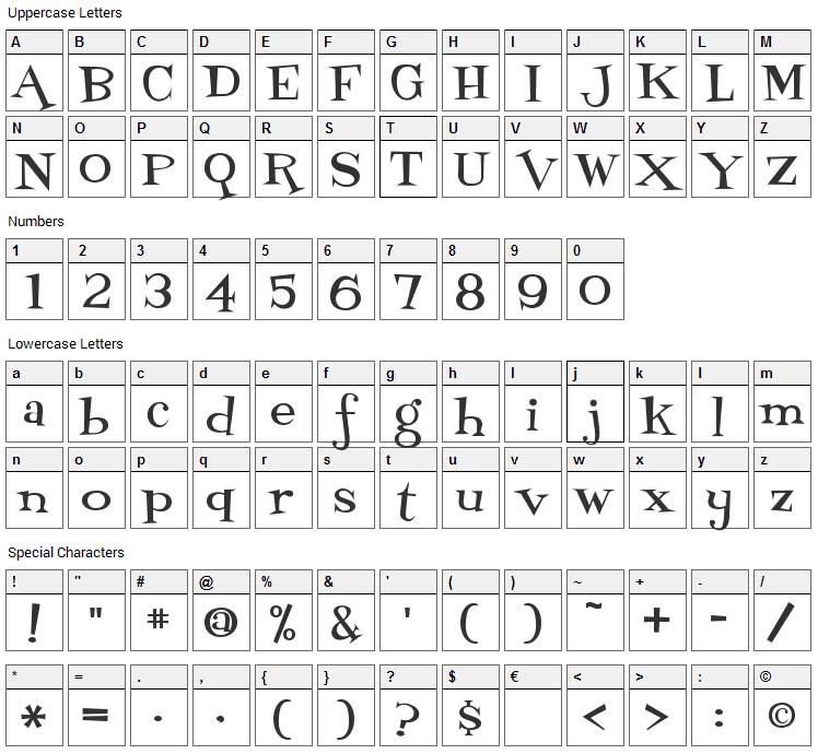 Fontdinerdotcom Loungy Font Character Map