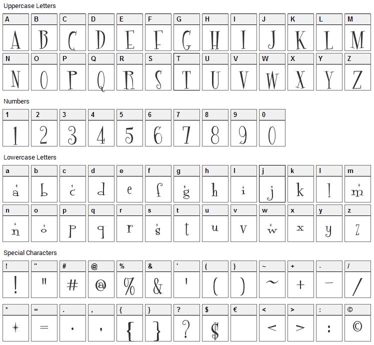 Fontdinerdotcom Sparkly Font Character Map