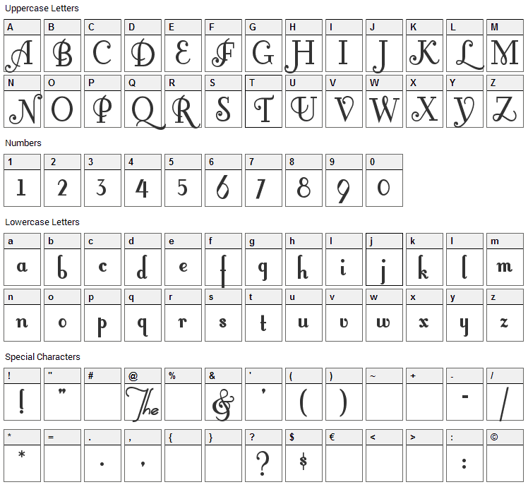 Fontleroy Brown Font Character Map