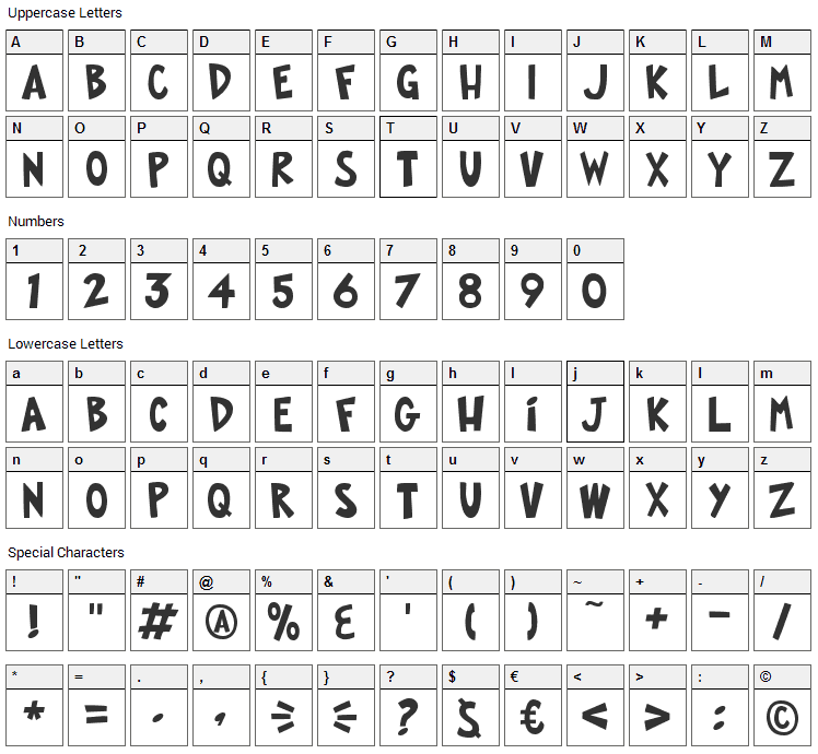 FOP Title Style Font Character Map