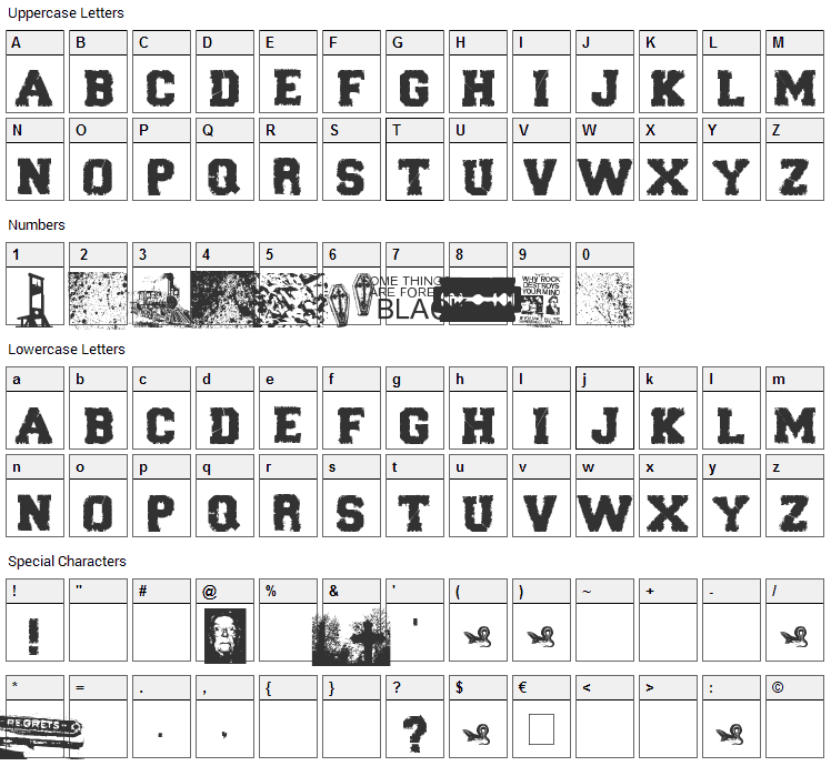 Forever Black Font Character Map