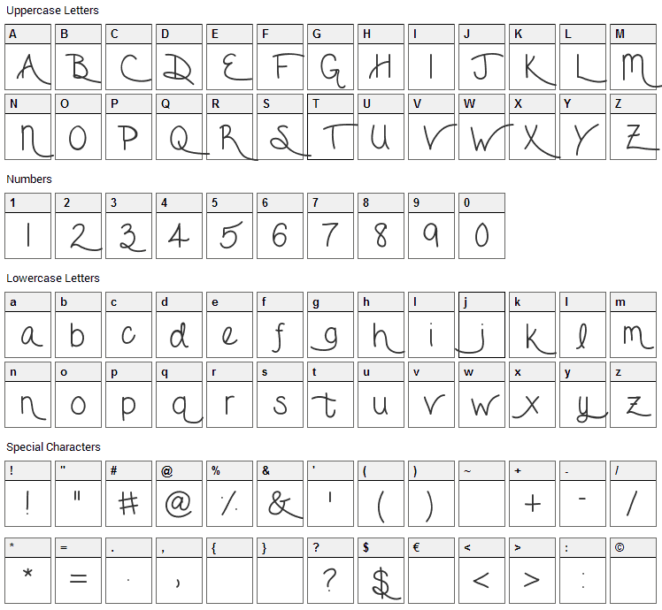 Forget Me Not Font Character Map