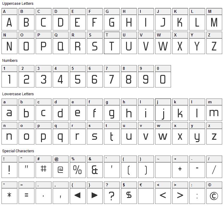 Forgotten Futurist Font Character Map