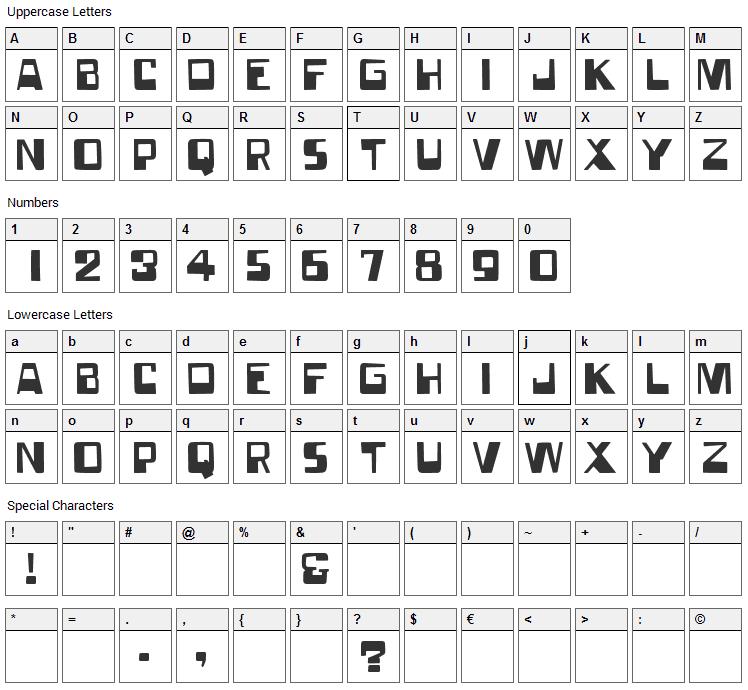 Forgotten World Font Character Map
