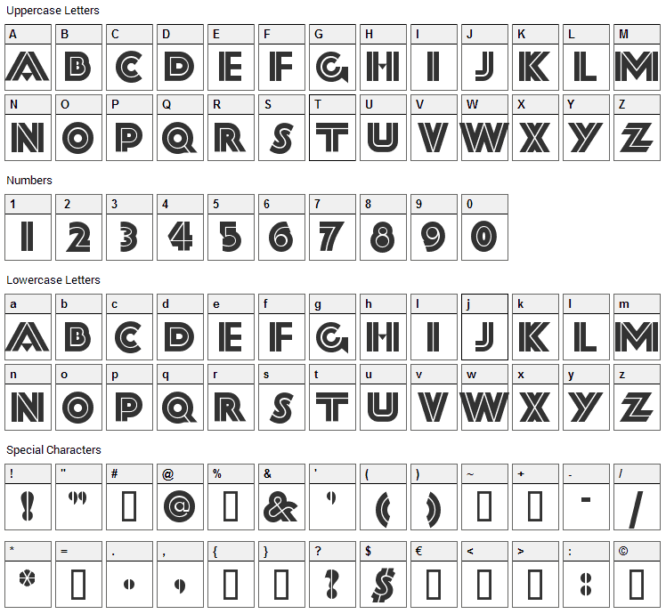 Forty Second Street Font Character Map