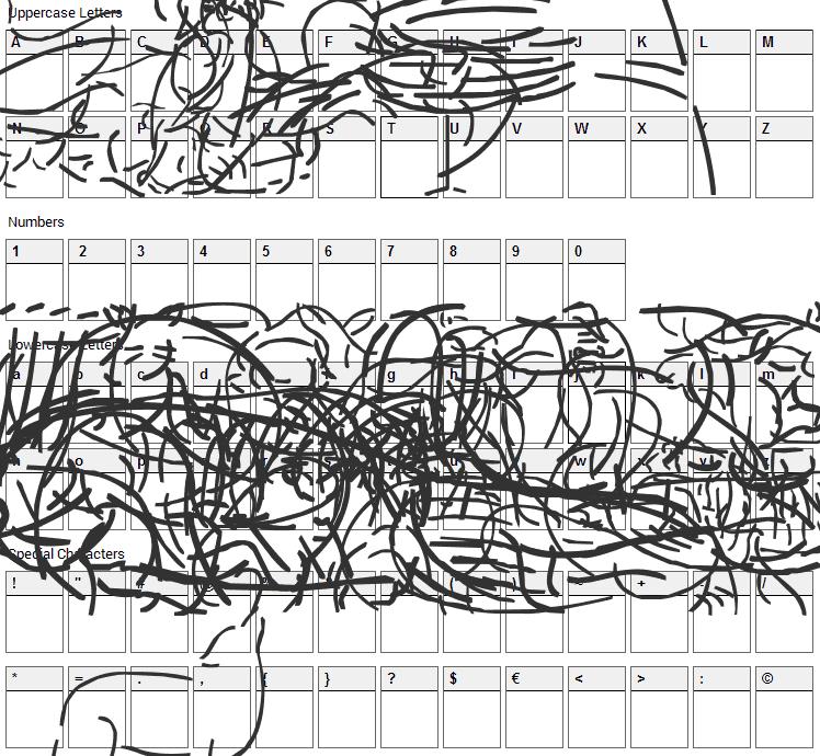 Founa BC Font Character Map