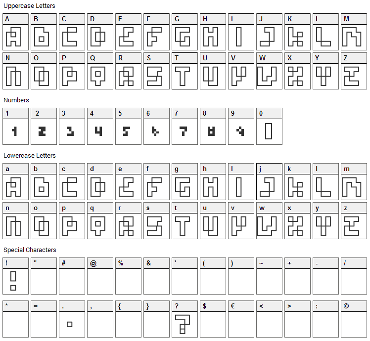 Four Pixel Caps Font Character Map