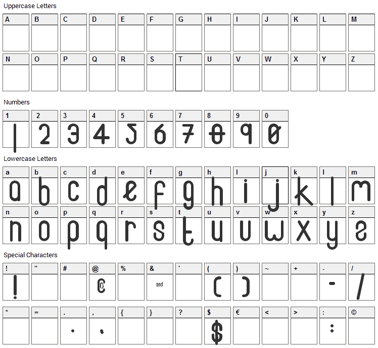 Fox Font Character Map