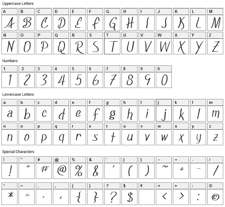 Foxboro Script Font Character Map