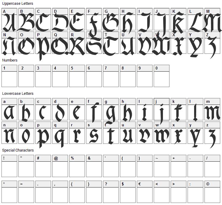 Fracta Font Character Map