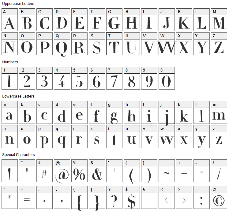 Frail Font Character Map