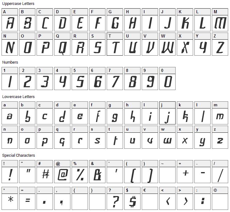 Frak Font Character Map