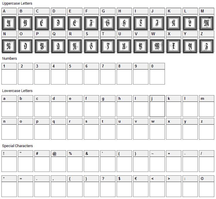 FramedFraxCaps Font Character Map