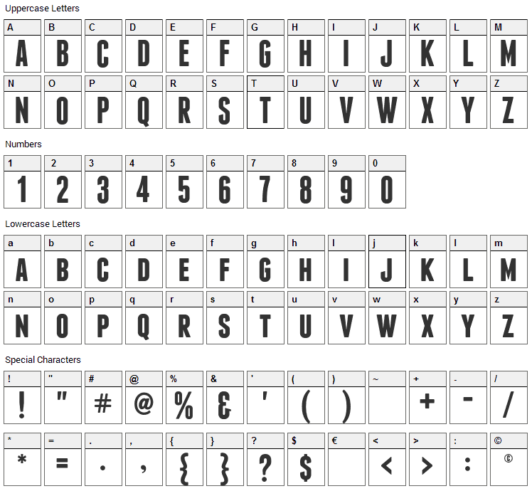 Franchise Font Character Map