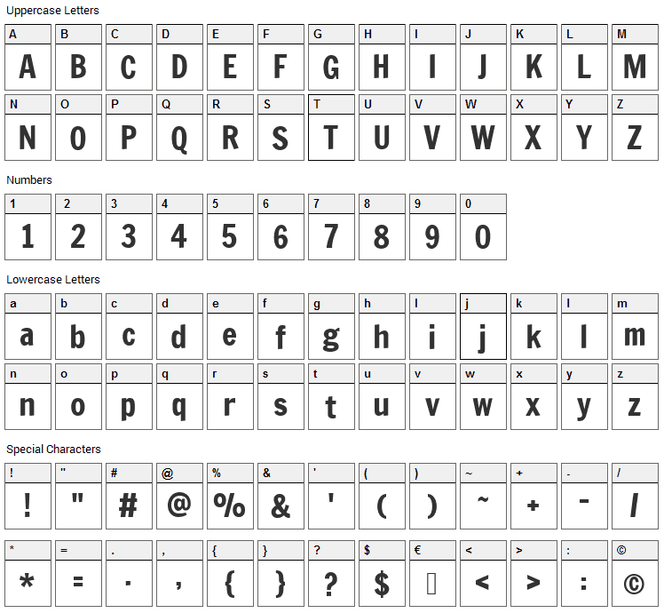 Francois One Font Character Map