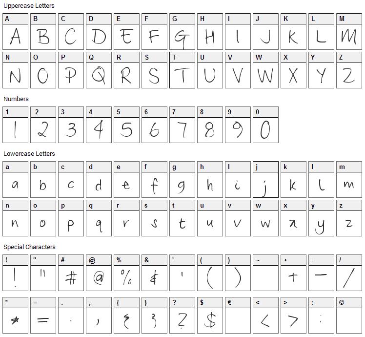 Frangipani Rose Font Character Map