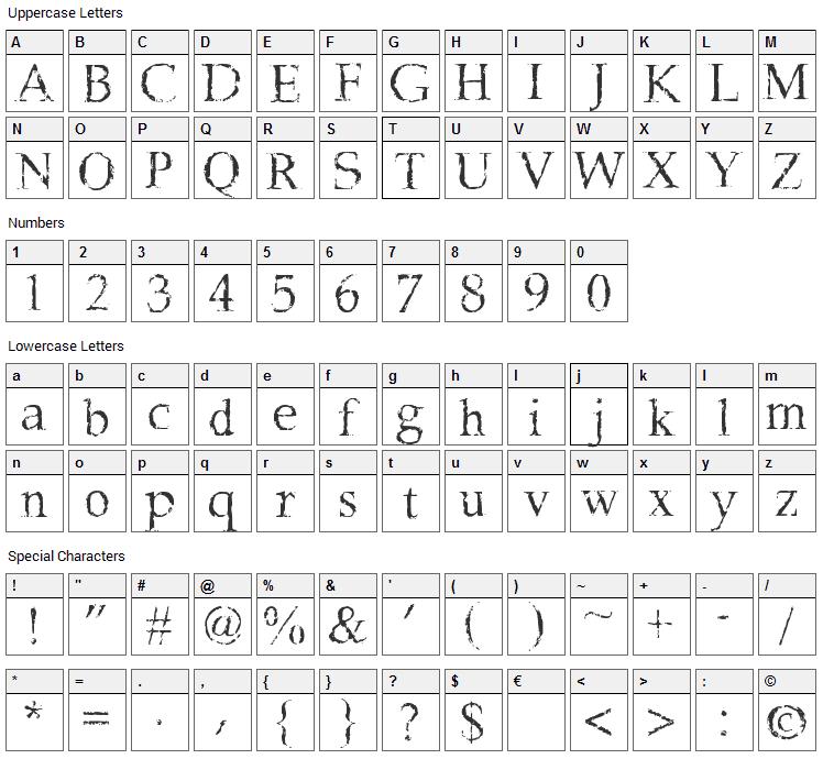 Frank Black Font Character Map