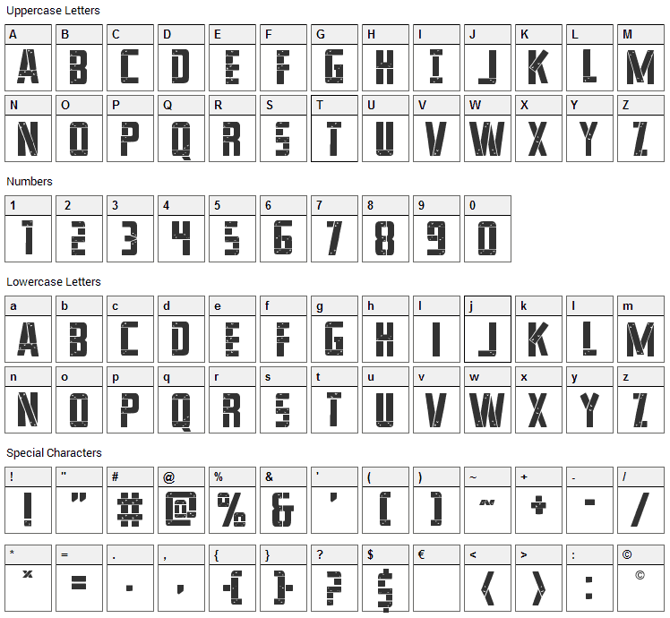 Frank-n-Plank Font Character Map