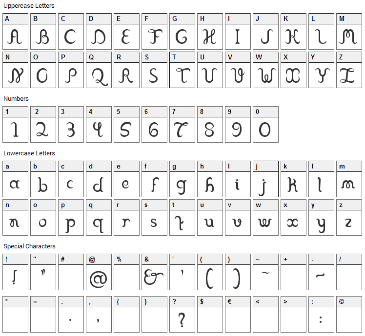 Franklin Cascaes Font Character Map