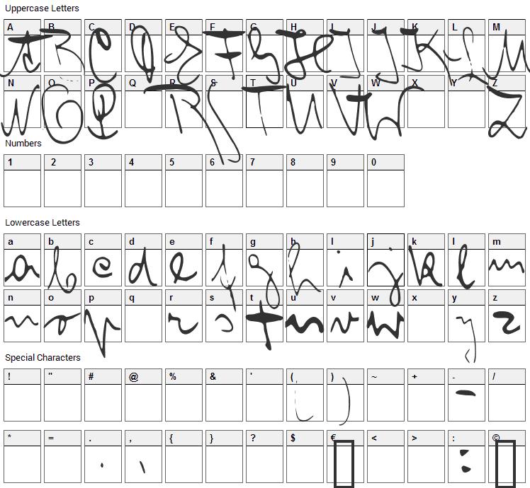 Franz Kafka Font Character Map