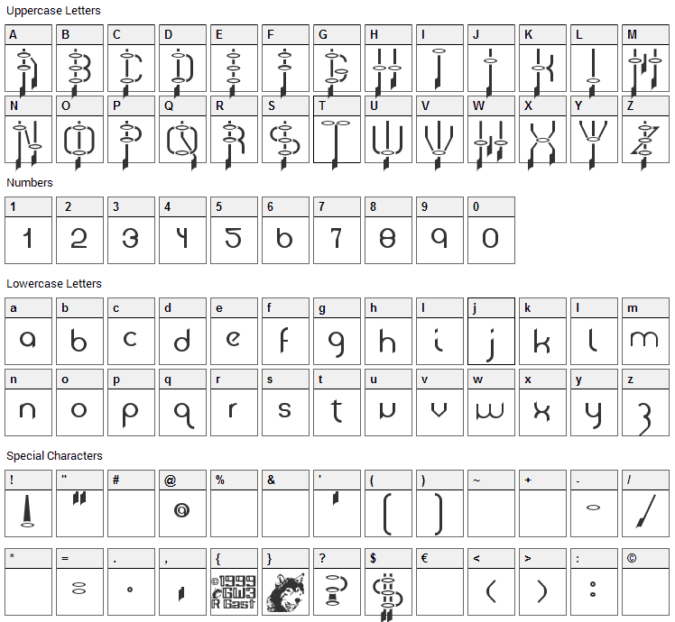 Frazzed Font Character Map
