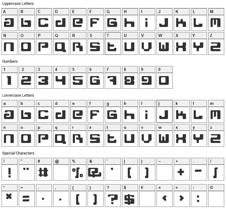 Freak Normal Font Character Map