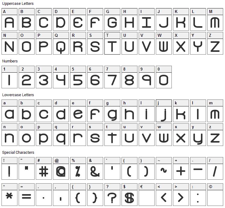 Freak Turbulence Font Character Map
