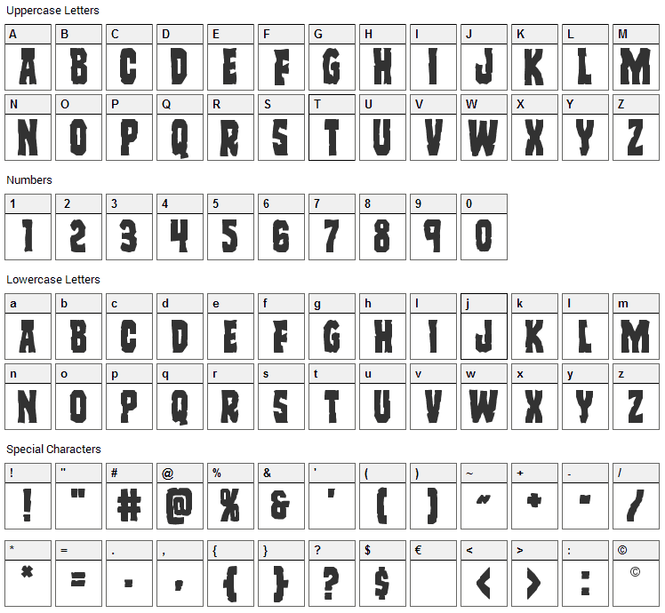 Freakfinder Font Character Map
